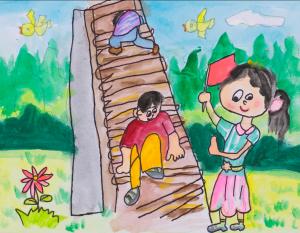 绘画《小勇士道路》